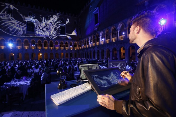 Digital live painting performance by Davide Asker